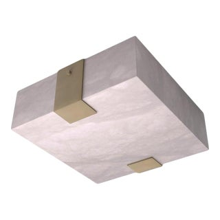 Contemporary 002A-2C Flush Mount in Alabaster and Brass by Orphan Work For Sale