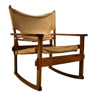 Rare Midcentury Poul Hundevad Safari Rocking Chair For Sale