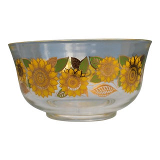 Mid-Century Sunflower Painted Bowl/ Salad by George Priard - Famous Artist For Sale