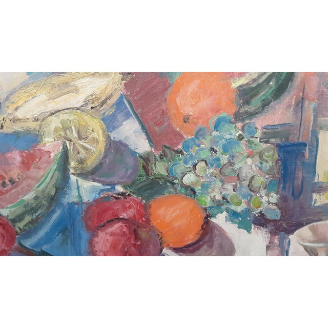 """Mid Century Abstract Still Life """"Table With Fruit"""" Oil Painting For Sale - Image 4 of 13"""