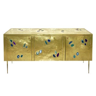 Italian Contemporary Fine Design Brass Cabinet For Sale