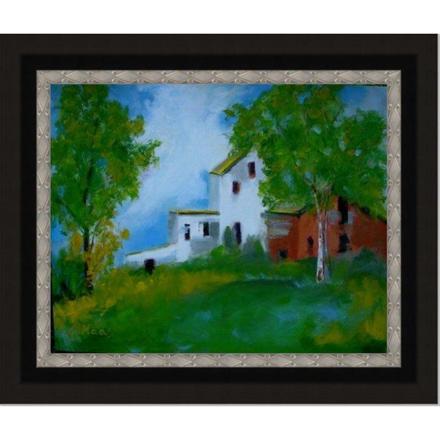 """Green """"Country Farm"""" Oil Painting Comes Framed For Sale - Image 8 of 12"""