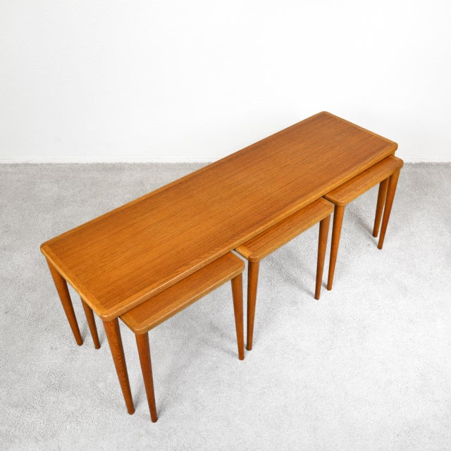 Dux of Sweden 1960s Teak Coffee Table With Three Nesting Tables - 4 Pieces For Sale - Image 13 of 13