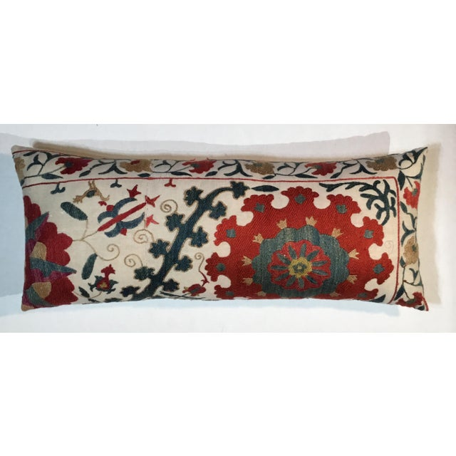 Contemporary 1960s Mediterranean Hand Embroidery Suzani Pillow For Sale - Image 3 of 11