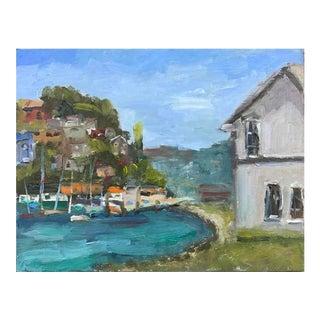 Tiburon Ferry Building Landscape Oil Painting For Sale