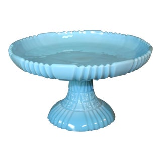 Fenton Blue Milk Glass Large Cakestand (1955-1957) For Sale