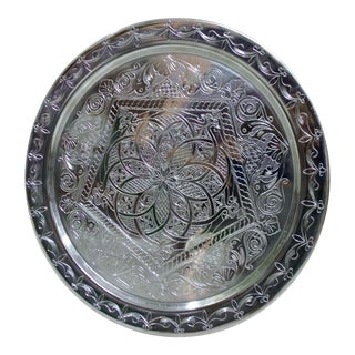 "Moroccan Hand Carved Silver Brass Salver Tray 20"" For Sale"