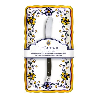 Capri Melamine Butter Dish Gift Set with Laguiole Melamine Butter Spreader, Set of 2 For Sale