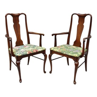 1960s Vintage Thomasville Queen Anne Style Cherry Chair Dining Chair Armchairs- A Pair For Sale