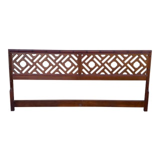 Chippendale Fretwork Chinoiserie Bamboo Stylized King Headboard For Sale