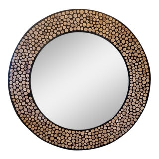 Moroccan Resin Inlaid Round Mirror For Sale