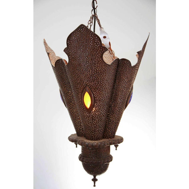 Pair of Moroccan Handcrafted Metal Pendants, North Africa For Sale - Image 4 of 8