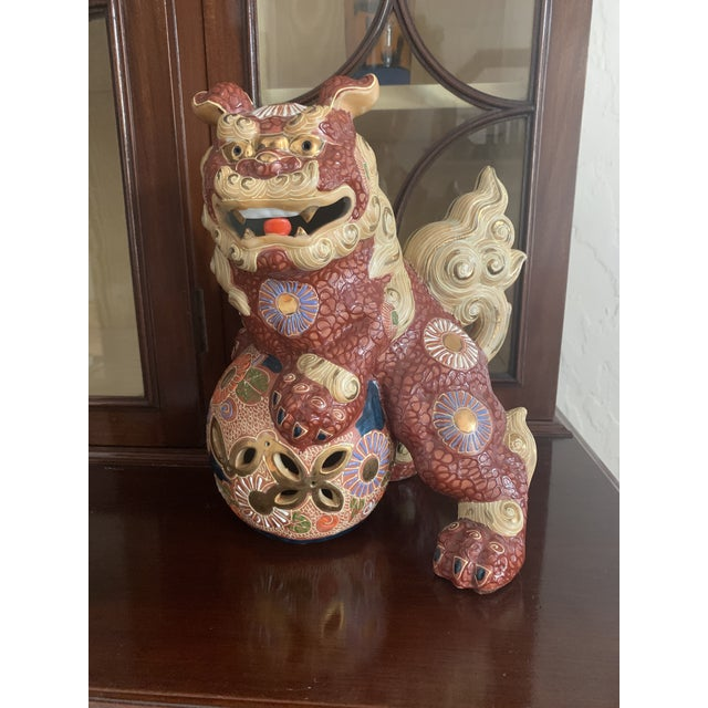 Red Vintage Asian Antique Foo Dogs - a Pair For Sale - Image 8 of 10