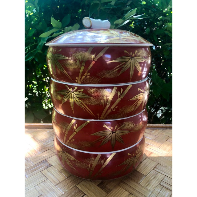 Red Chinese Gilt Porcelain Bamboo Jubako Wedding Jewelry Stacking Box For Sale - Image 8 of 10