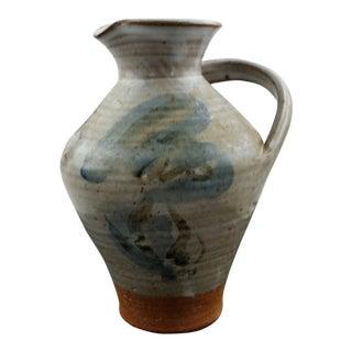 Vintage Gray-Blue Glaze Slant Handle Signed Studio Pottery Pitcher For Sale