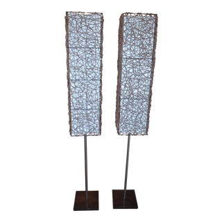 Mid Century Modern Italian Fabric and RattanFloor Lamps - Pair For Sale