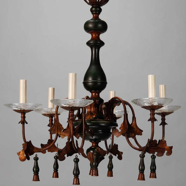 1920s Italian Wood And Gilt Metal Six Arm Chandelier For Sale - Image 5 of 5