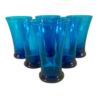 1960s Cobalt Art Glass Cosmopolitan/Stemless Martini Hi-Balls, Set of 6 For Sale