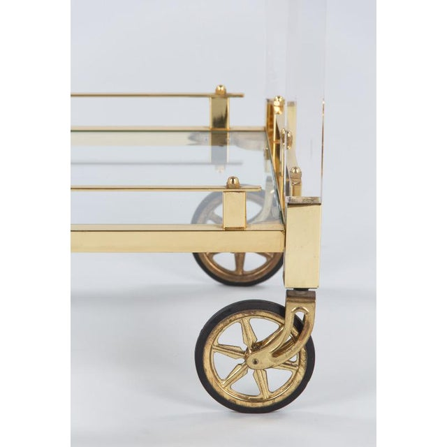 Brass 1970s Spanish Lucite and Brass Bar Cart For Sale - Image 7 of 11