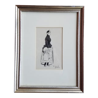 1900s Original French Nanny and Child Ink Drawing Signed H. Gerbault For Sale