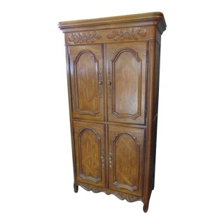 Drexel Country French Fruitwood Parquetry Armoire For Sale
