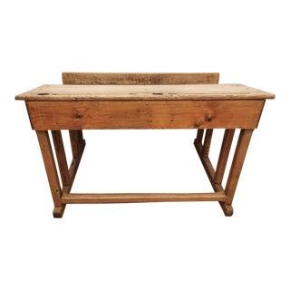 Antique Italian School Desk in Solid Oak \ For Sale