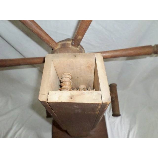 Antique Primitive Wooden Yarn Winder Spinning Wheel For Sale In Columbia, SC - Image 6 of 11