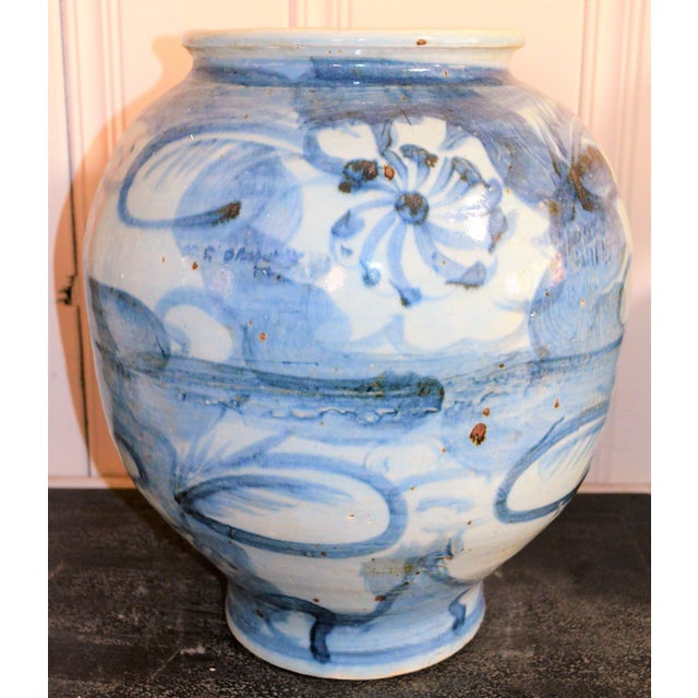 Chinoiserie Blue and White Abstract Lotus Vase For Sale In Houston - Image 6 of 6
