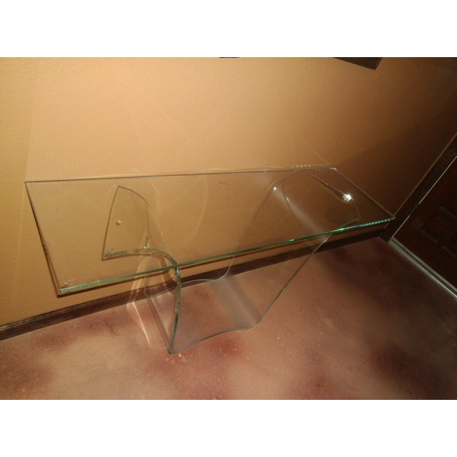 Late 20th Century Late 20th Century Vintage Fiam Style All Glass Ghost Console Table For Sale - Image 5 of 10