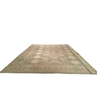 Traditional Hand Made Knotted Rug in Beautiful Celandine Green - 13′6″ X 16′ - Size Cat. 12x15 14x16 For Sale