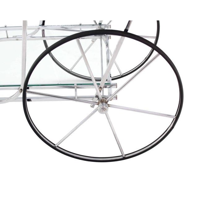 Large Wheel Design Chrome and Glass Tea Bar Cart For Sale In New York - Image 6 of 7
