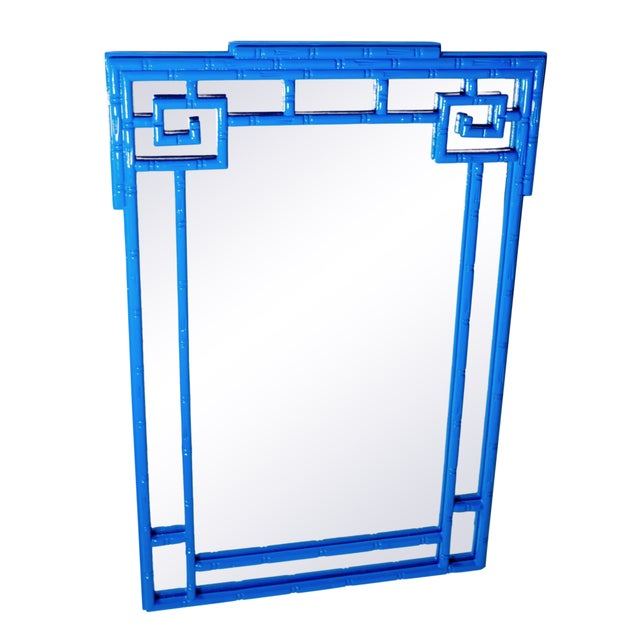 La Barge Greek Key Vintage Newly Lacquered French Blue Faux Bamboo Wall Mirror Chinoiserie For Sale - Image 4 of 4