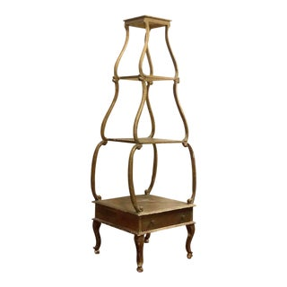 1930s Antique Petite Gold Italian Etagere For Sale