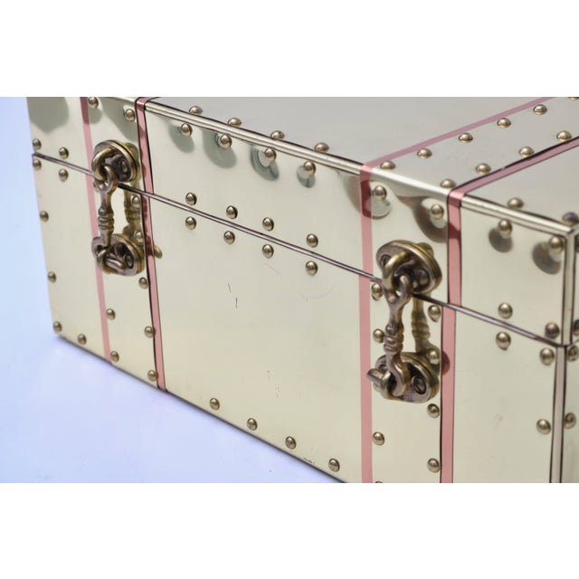 Sarreid Ltd. Cream and Pink Brass and Copper Box For Sale - Image 4 of 7