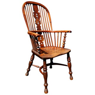 Late Regency Yew Wood Windsor Armchair For Sale