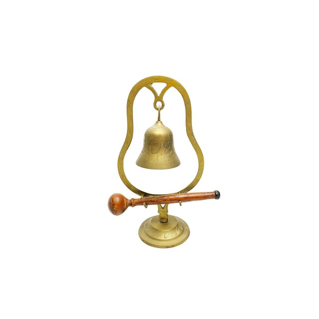 Vintage Mid Century Hand Made and Etched Hanging Brass Bell With Wooden Mallet For Sale - Image 4 of 4