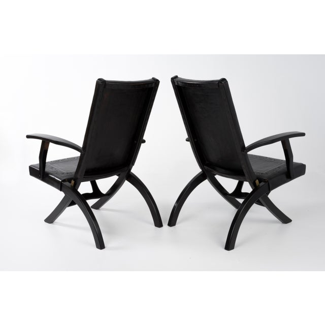 1970s 1970s Vintage Angel I. Pazmino for Muebles De Estilo Leather Armchairs- A Pair For Sale - Image 5 of 13