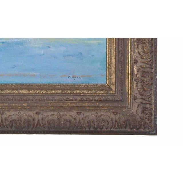 This vintage oil on canvas is a good example of American Impressionism. The figures are at play in a rapidly moving...