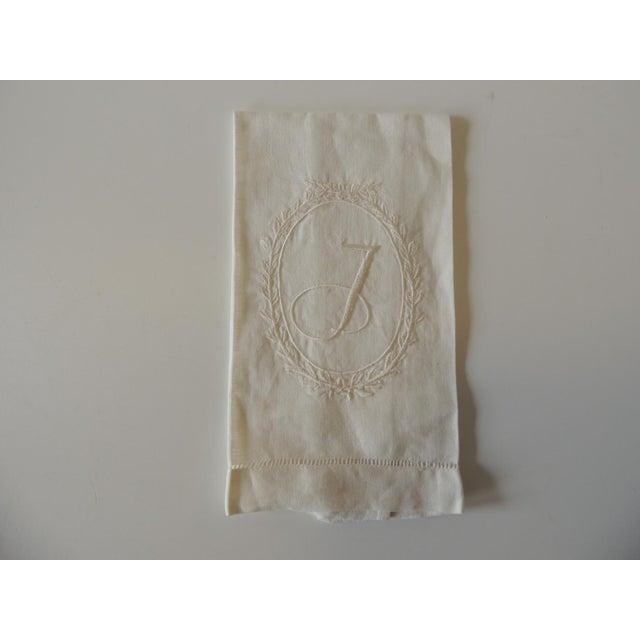 """1990s Vintage """"J"""" Letter Embroidered Bathroom Guest Towel For Sale - Image 5 of 5"""