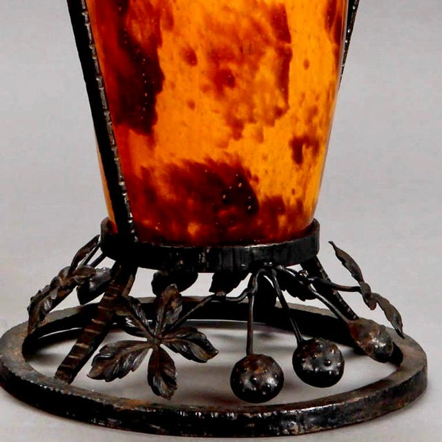 Pair French Tall Signed Delatte Nancy Art Glass and Iron Vases For Sale In Detroit - Image 6 of 8