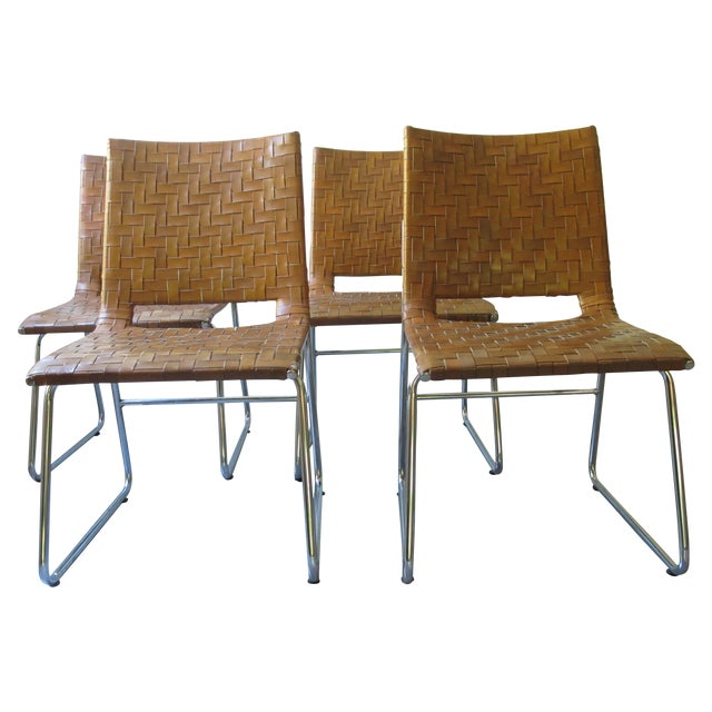 Modern Woven Leather Dining Chairs - Set of 4 - Image 1 of 8