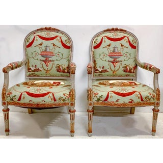 19th-C. French Bergere Chairs in Stroheim & Romann Fabric Preview