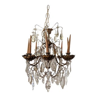 Maison Jansen Eight-Light Crystal and Gilded Bronze Chandelier, French Ca. 1950 For Sale