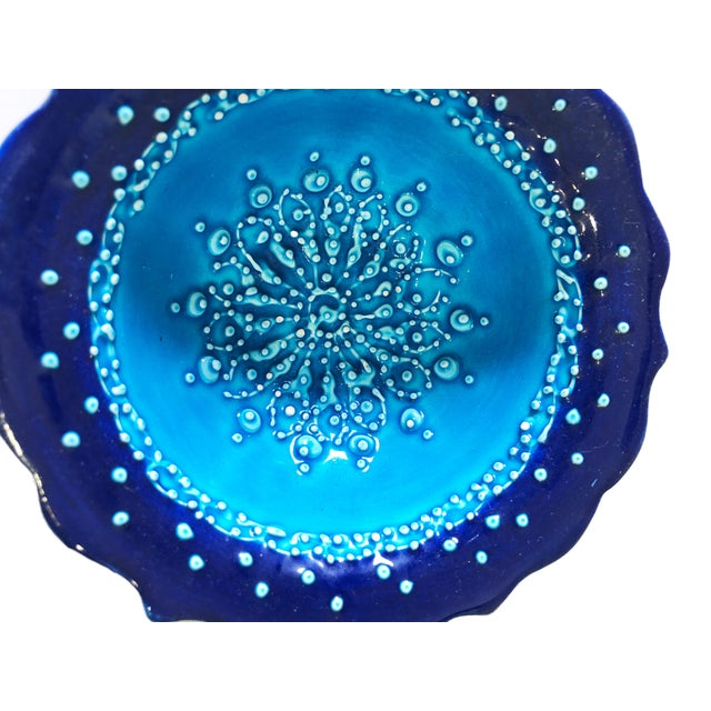 """Ceramic Turquoise Turkish Hand Painted Ottoman Bowl 5"""" D Pair For Sale - Image 7 of 8"""