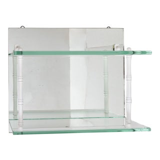Hanging Mirror and Glass Shelf or Curio Display For Sale