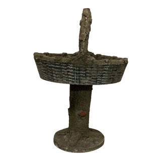 Vintage Concrete Basket on Stand For Sale