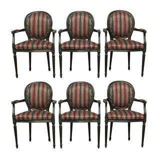 Louis XVI Malachite Green Lacquer Armchairs - Set of 6