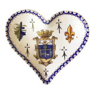 1910 Antique French Faience Heart Platter For Sale