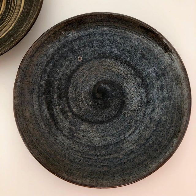 Mid-Century Modern Handthrown Mid-Century Studio Pottery Plates - A Pair For Sale - Image 3 of 11