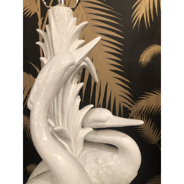 Vintage Hollywood Regency Tropical White Ceramic Heron Bird Table Lamps - a Pair For Sale - Image 4 of 13